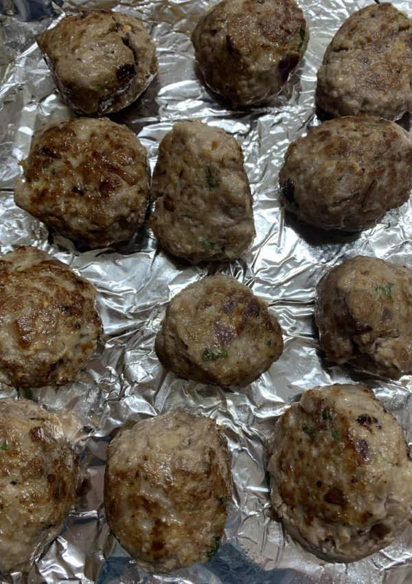 Browned meatballs.
