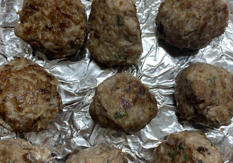 Browned meatballs.